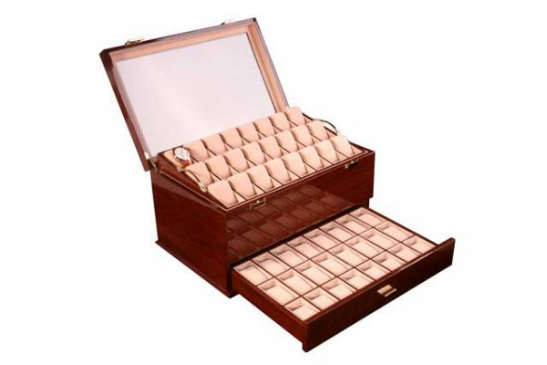Watchbox for 72 Watches / MAHAGONI with window Dreambox 411