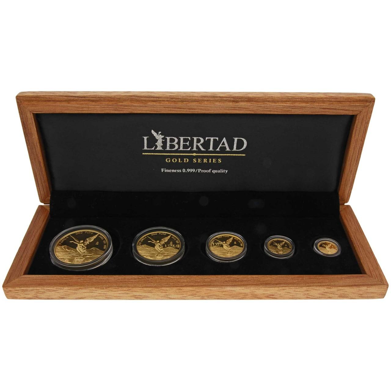 1.9 oz 5 Gold Coin Set Mexiko 2015 Libertad proof (5 coins ...