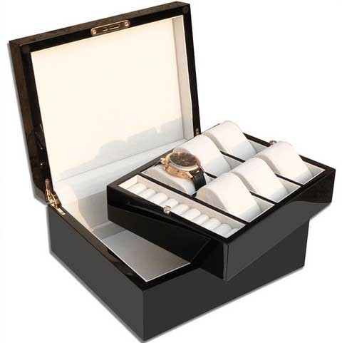 Watchbox for 6 Watches and Jewelry/ Black/braun - 7586