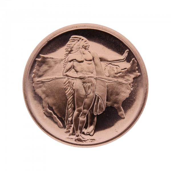 "/""Oregon Trail/"" American Indian Series Copper 1 oz .999 Copper Round"