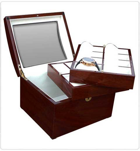 Watchbox for 16 Watches / MAHAGONI with window - 7611